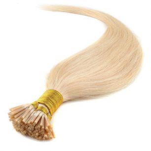 Натуральные волосы на кератиновой капсуле I-тип, №613 Светлый блонд - 55 см, 100 капсул.