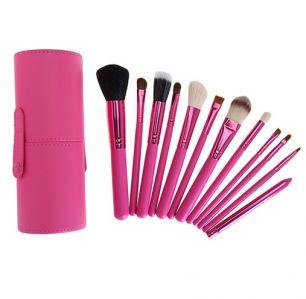 Кисти для макияжа 12 штук, в тубусе набор, розовый.